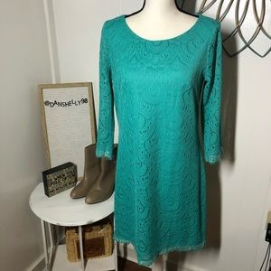 London Times Turquoise Lace Shift Dress  8